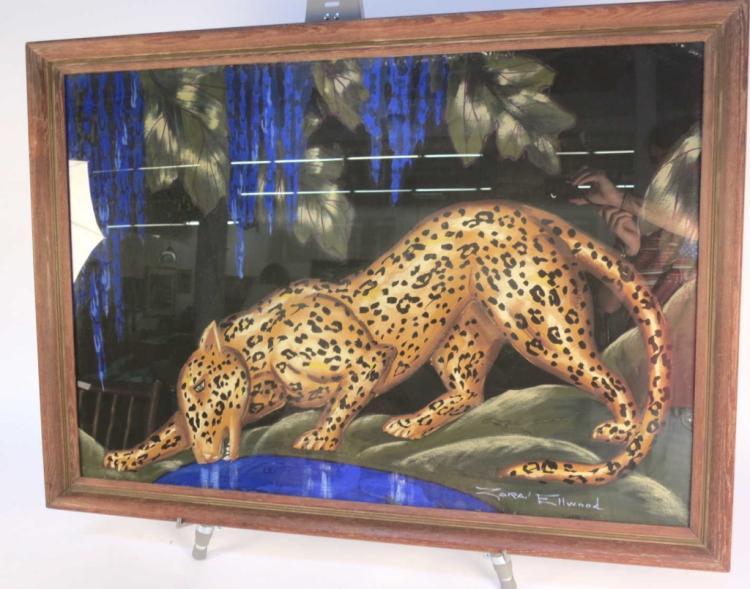 zara ellwood signed ny art deco leopard painting. Black Bedroom Furniture Sets. Home Design Ideas