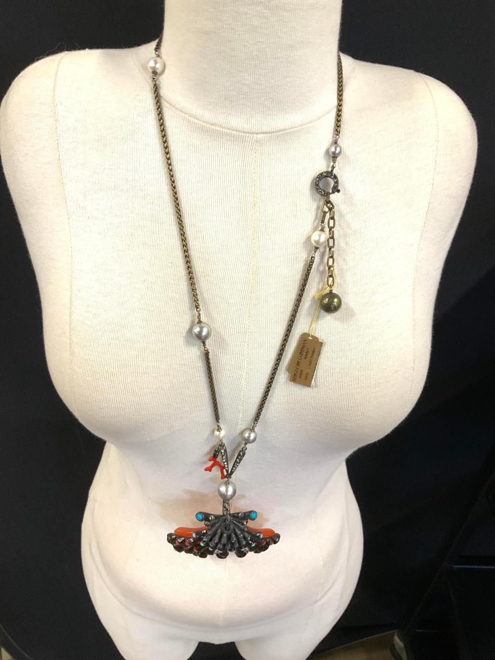 LANVIN PARIS Clam Pendant Necklace, w box