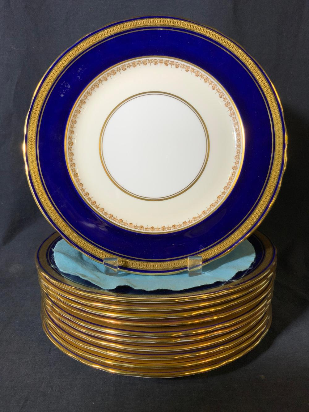 Set 11 AYNSLEY Gold Trim Plates, England