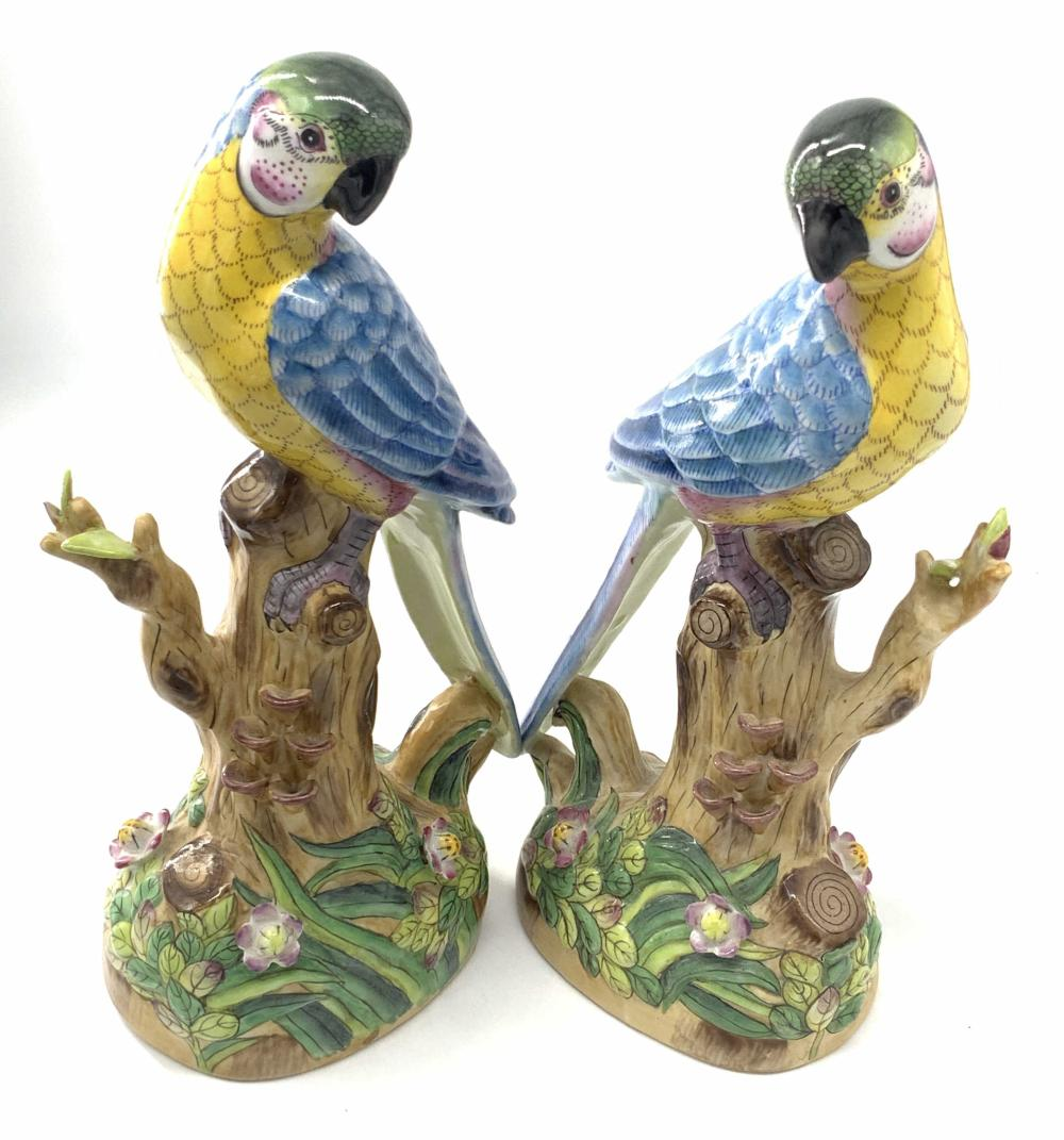 Pair Vntg Trademarked Hand Painted Parrot Figurals