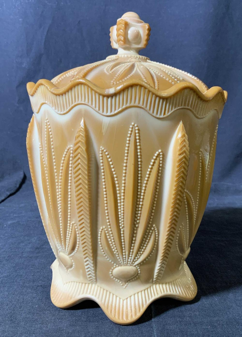 Antique Caramel Glass Lidded Vessel