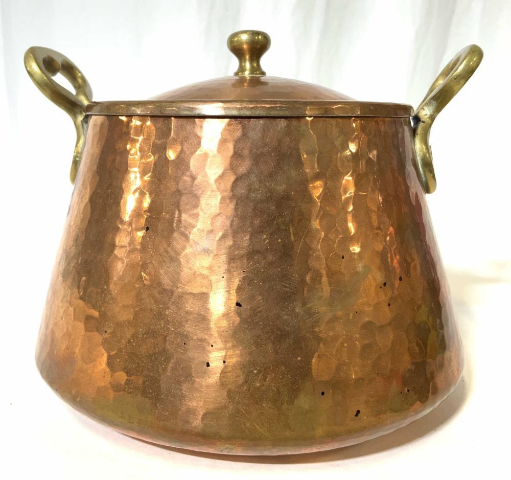 Vntg Hammered Copper & White Metal Pot