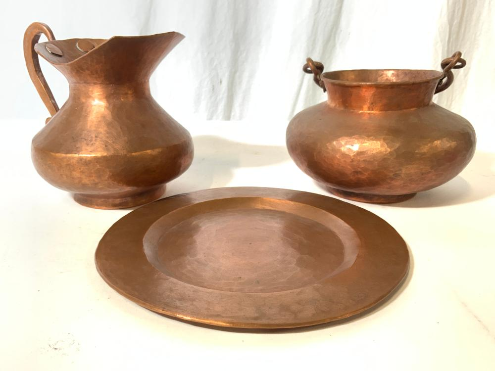 Lot 3 Assorted Antique Hammered Copper Pieces