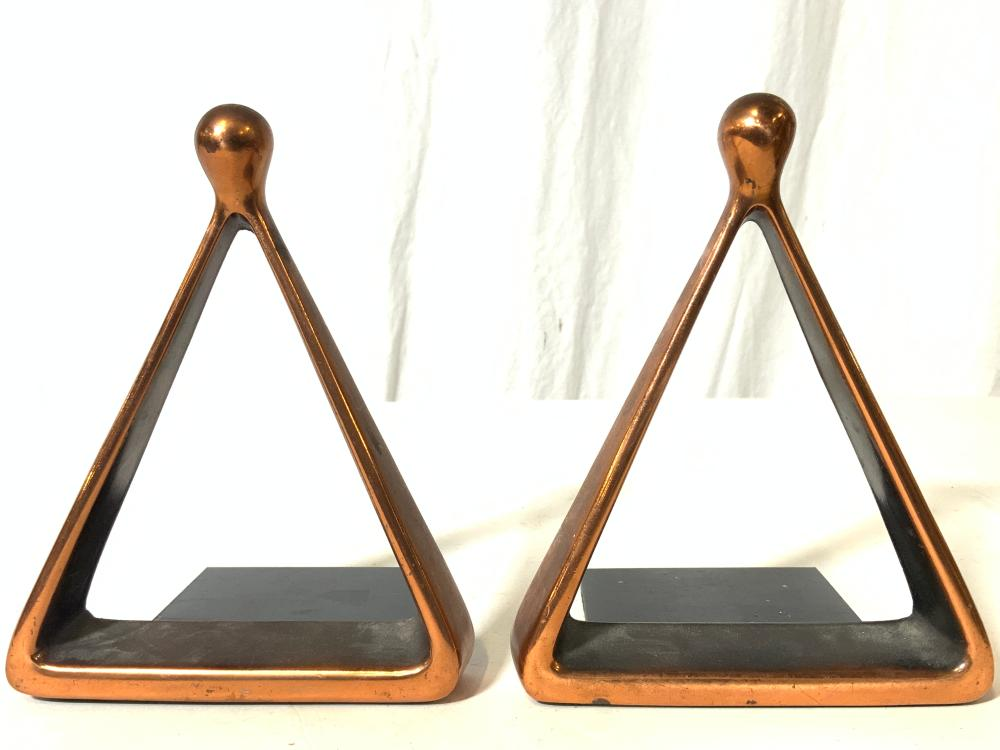 Pair JENFRED WARE Copper Toned Bookends