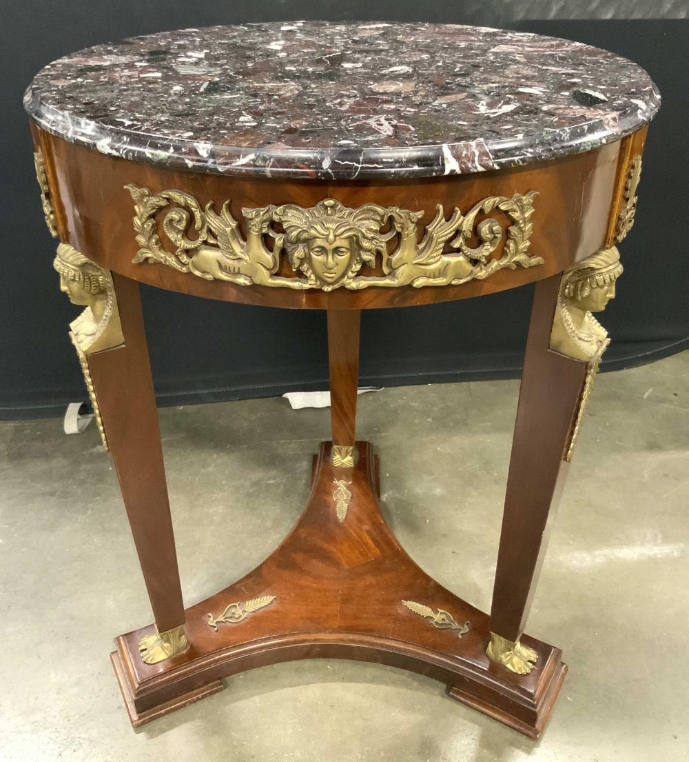 Empire Style French Gueridon Table W Marble Top
