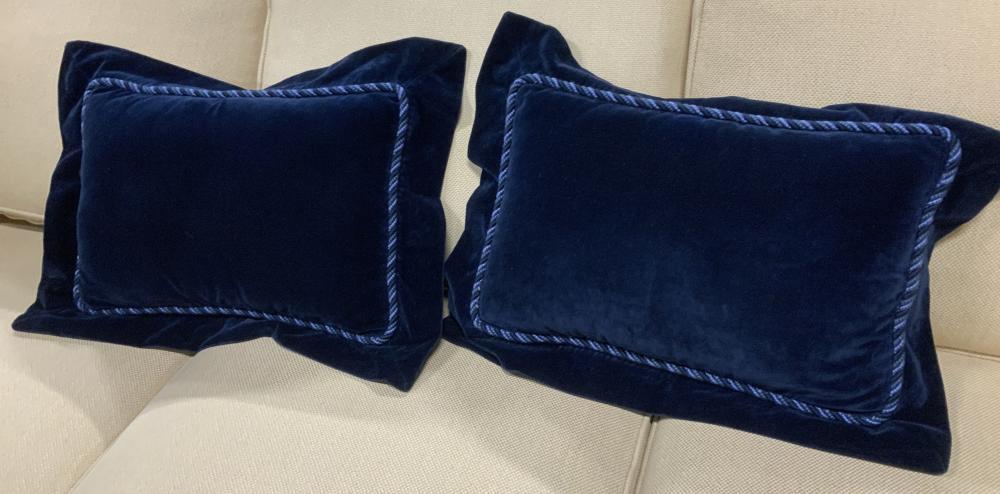 Pair Blue Velvet D&D Toss Pillows