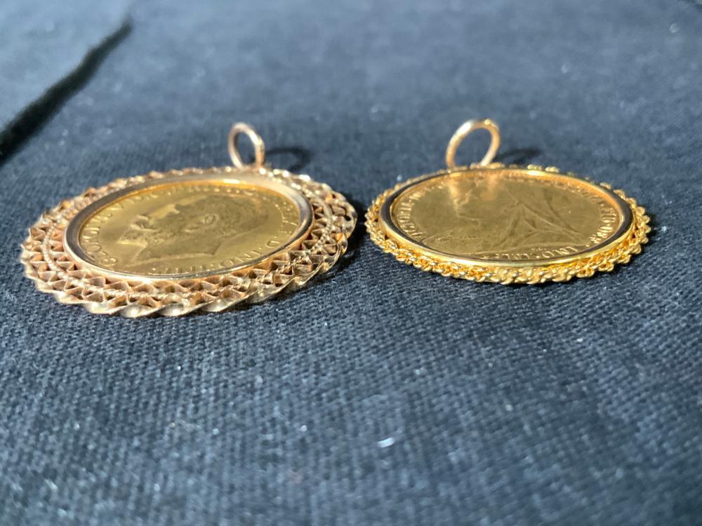 2 14K Filigree Gold Pendant w Antique British Coin