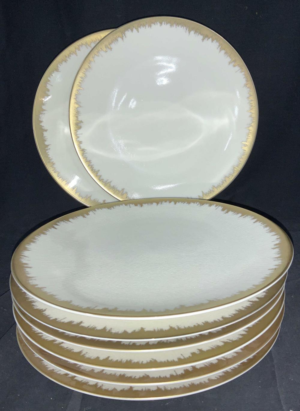 Kim Seybert SHAKTI Aura Opal Gold Brush Chargers,8