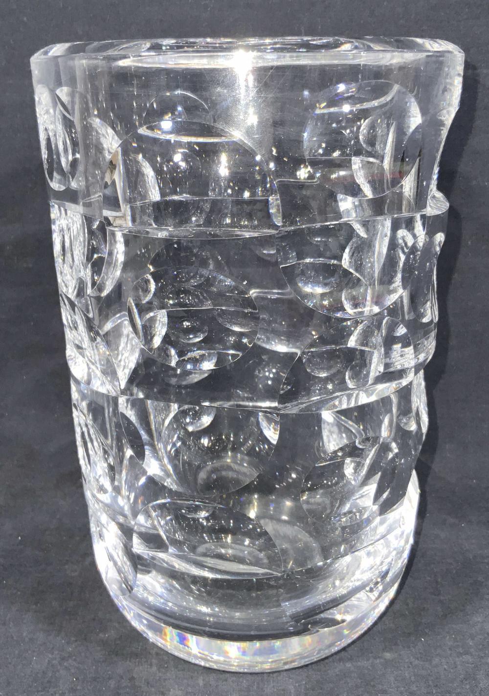 Vintage ORREFORS Signed Cut Crystal Vase