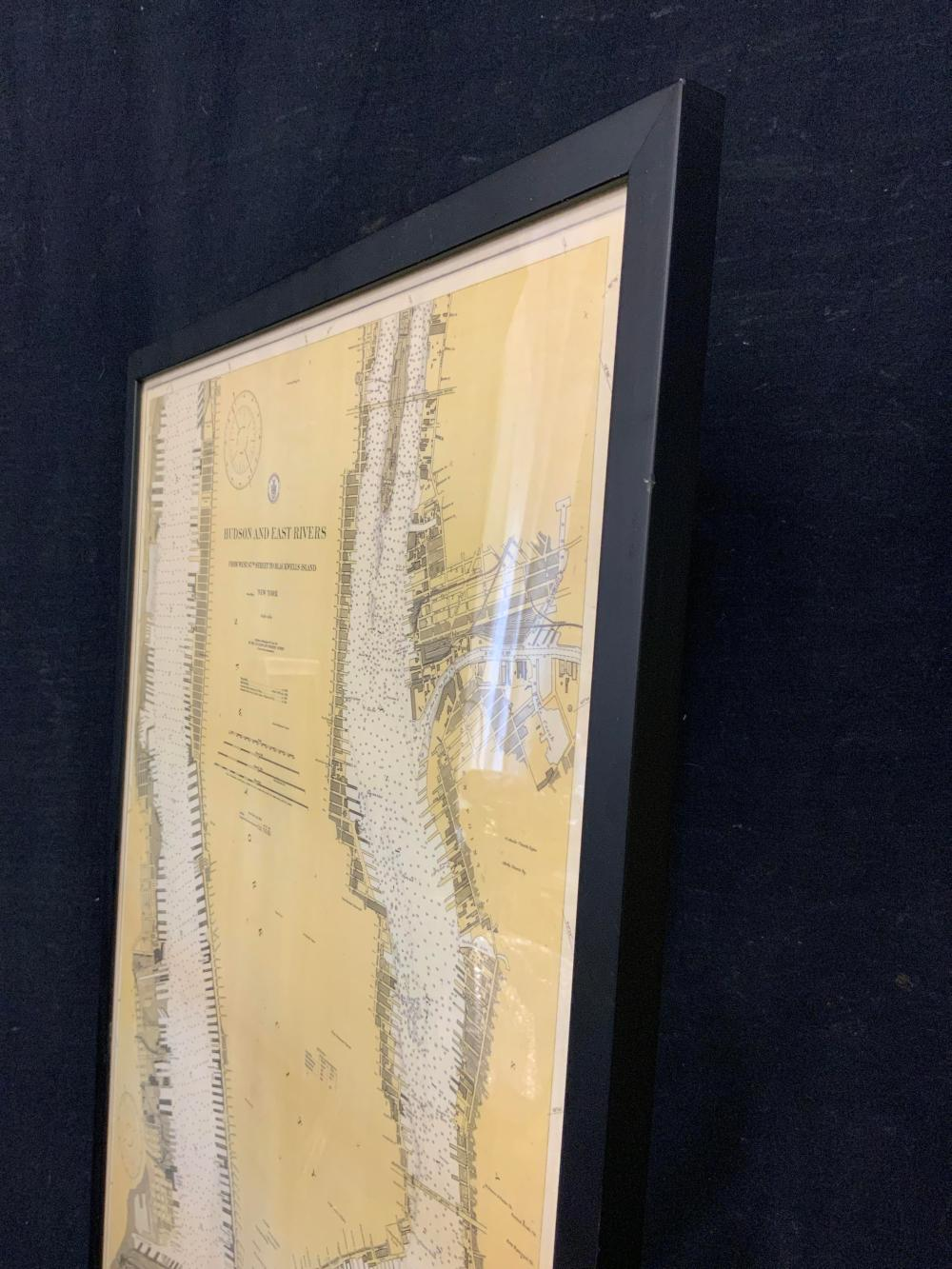 Hudson and East Rivers Map Engraving