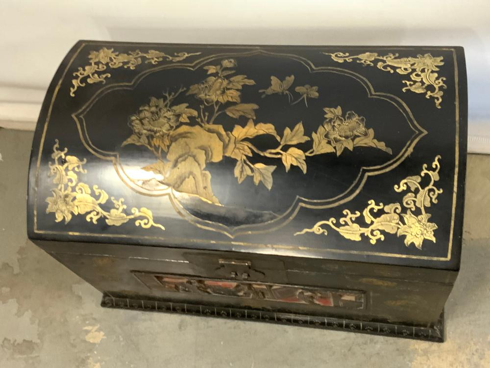 Vintage Asian Hand Painted Wooden Floor Chest