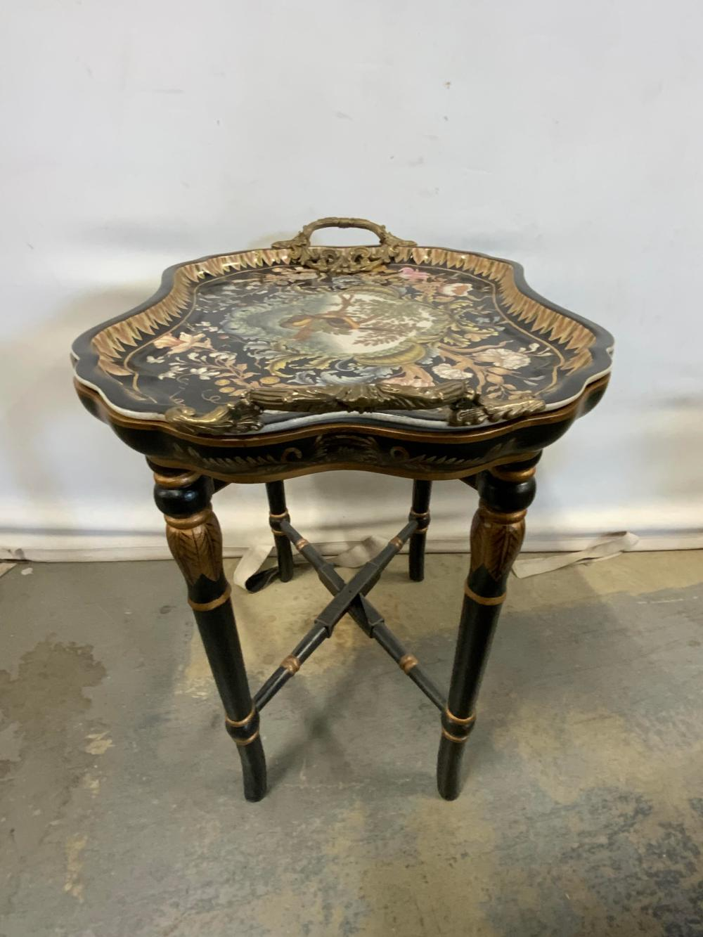 Vintage CASTILIAN Ceramic Tray Topped End Table
