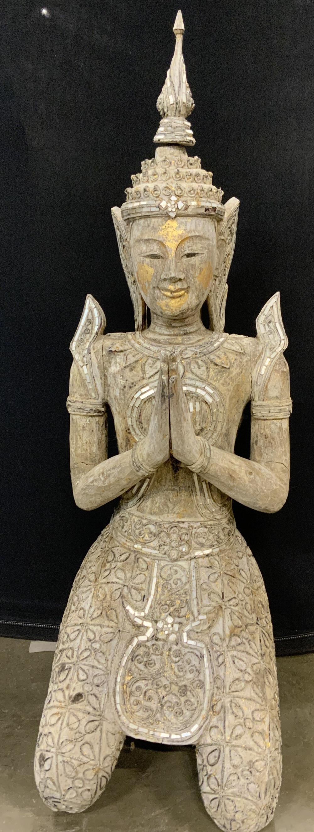 Asian Floor Sized Kneeling Thepphanom Sculpture