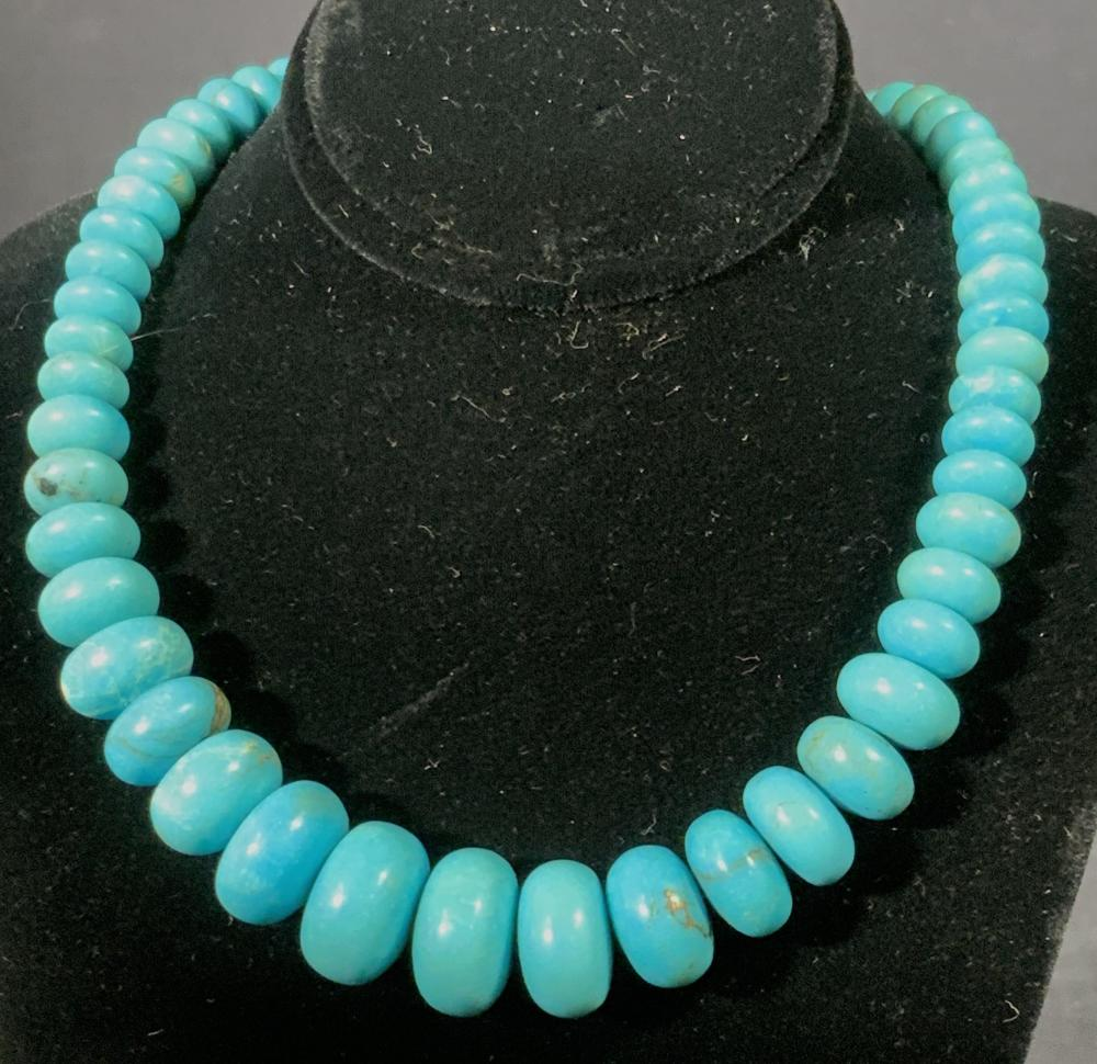 Lux TURQUOISE Graduated Stone Necklace, SS Clasp