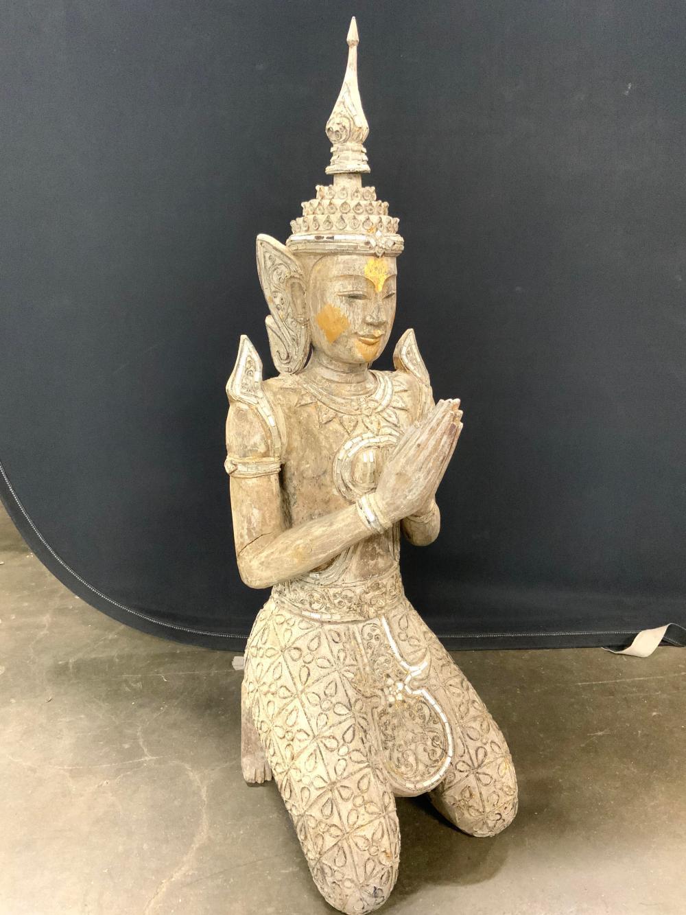 Thai Sculpture Kneeling Buddhist Angel Greeting
