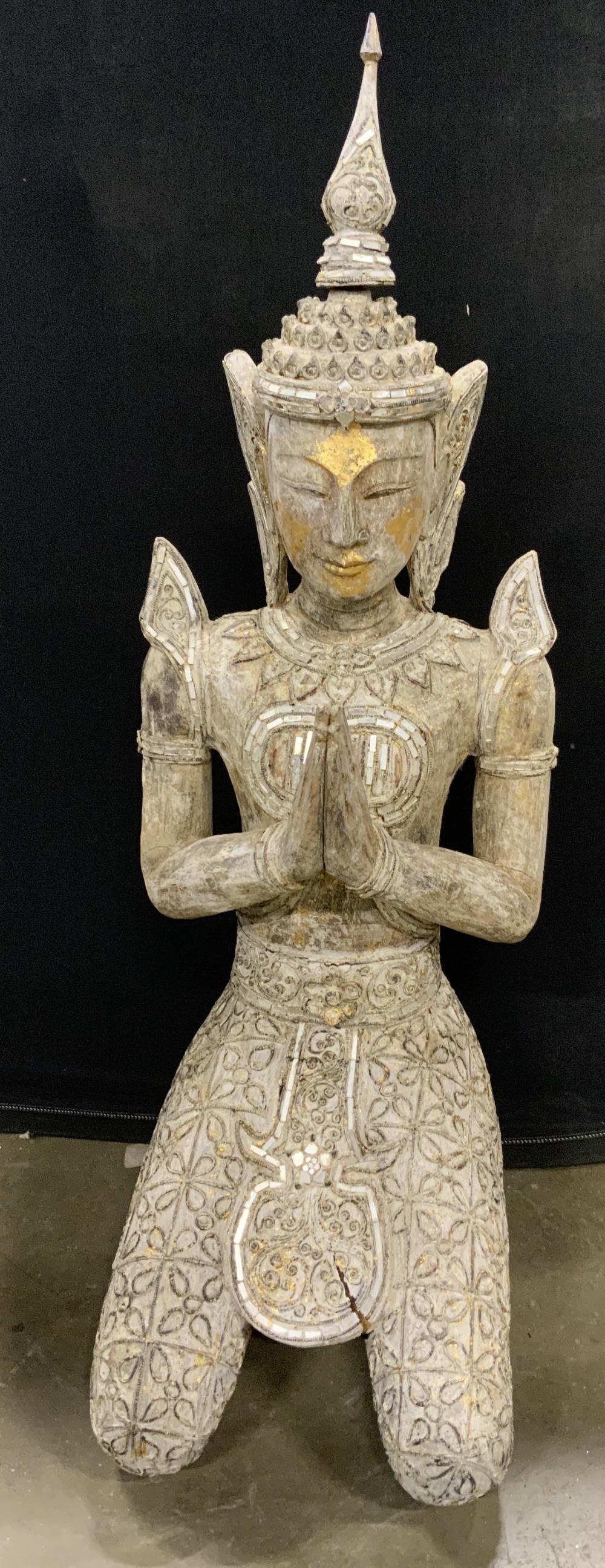 Asian Wooden Floor Sized Thepphanom Sculpture