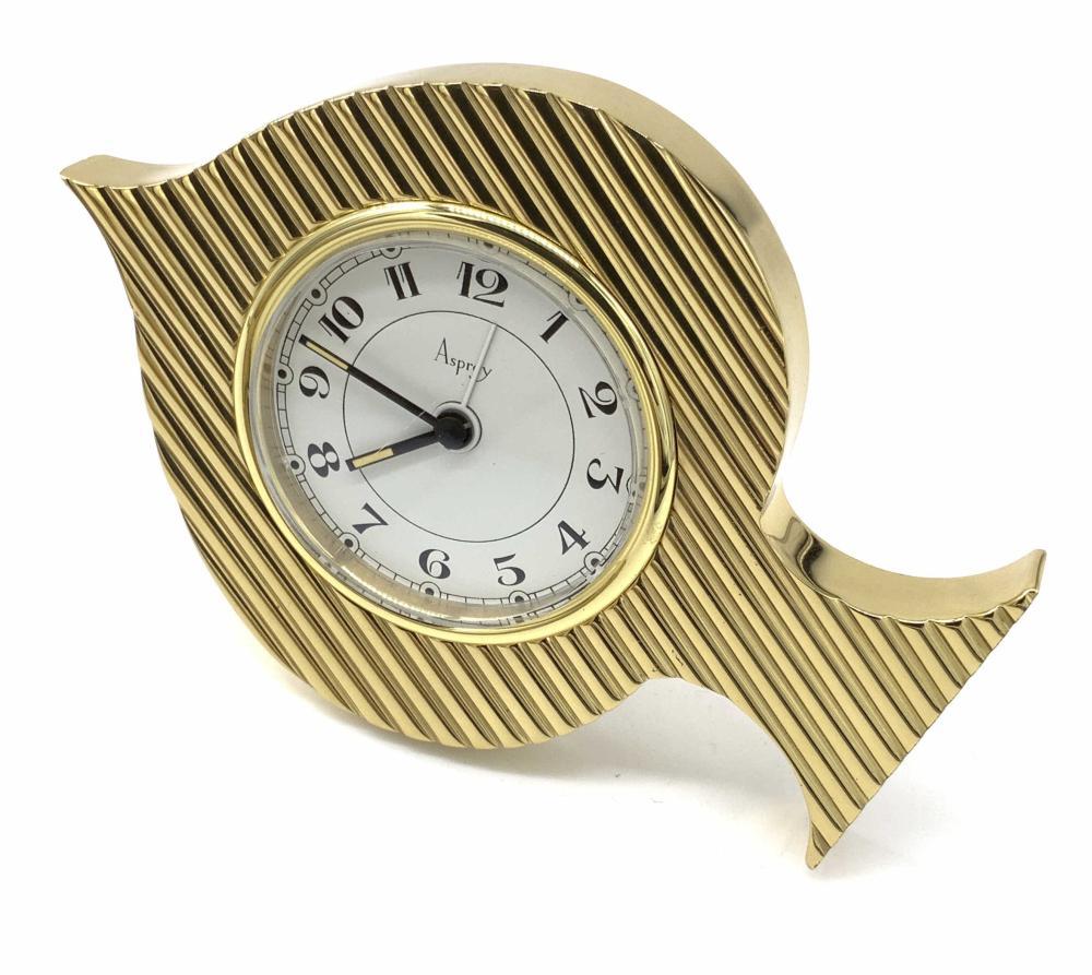 ASPREY Signed Spade Form Art Deco Desk Clock