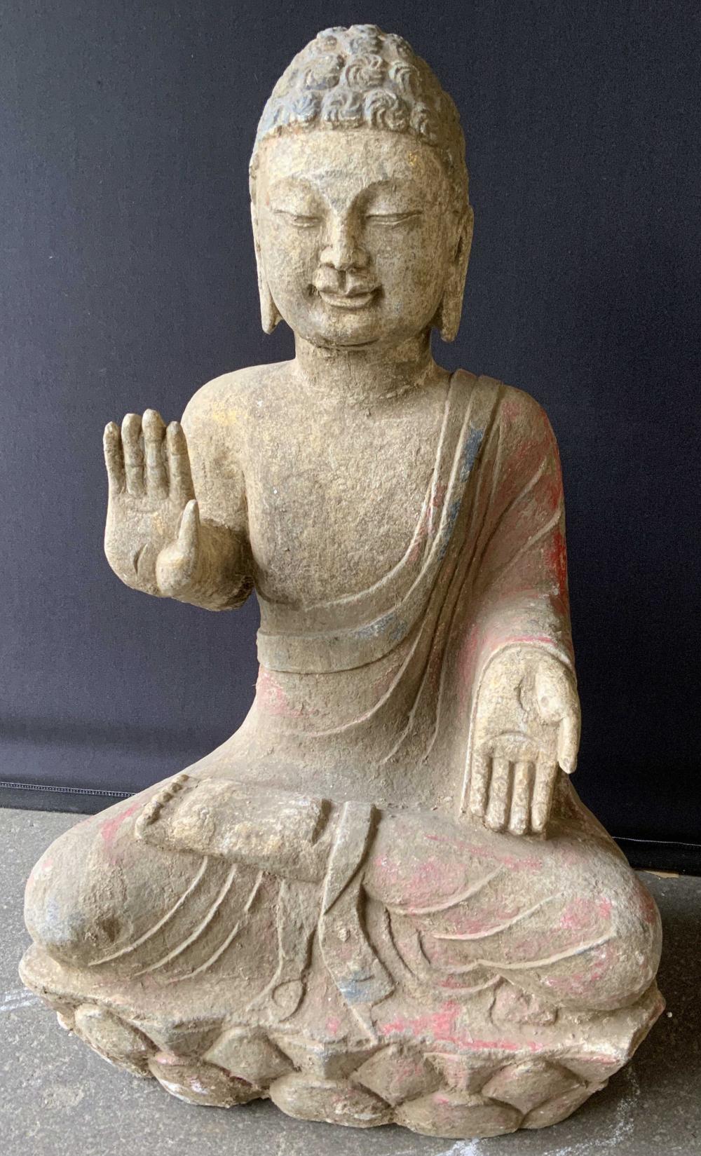 Vintage Stone Buddha Sculpture