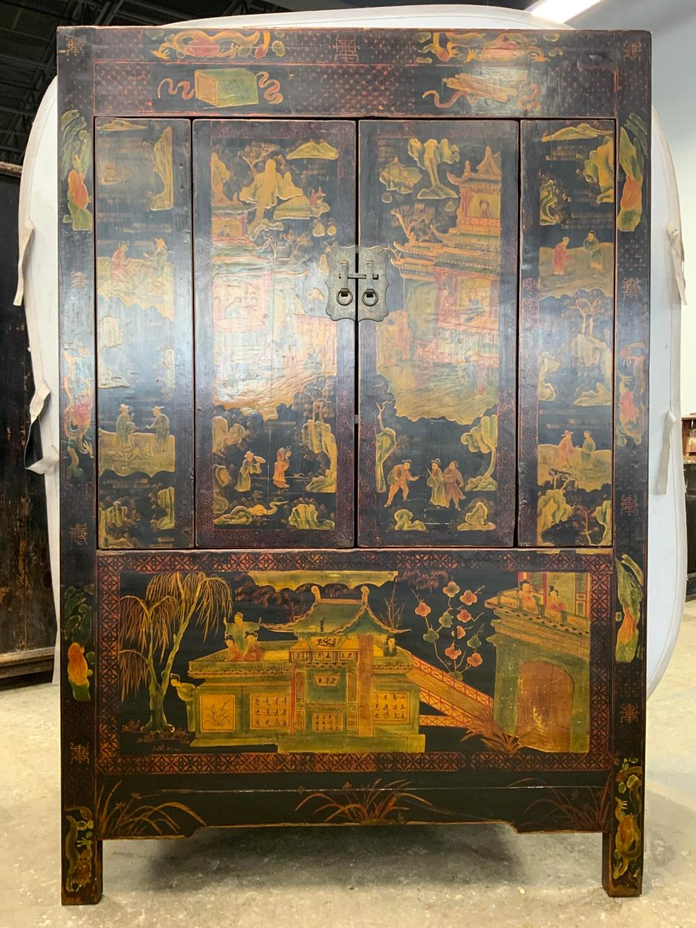 Grand Vintage Painted Chinese Cabinet