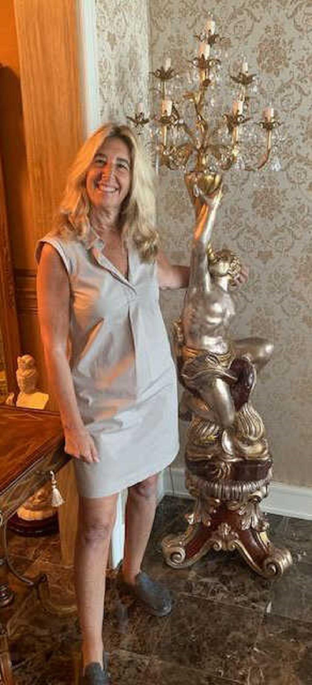 Pair of Free Standing Life-size Wood Candelabras