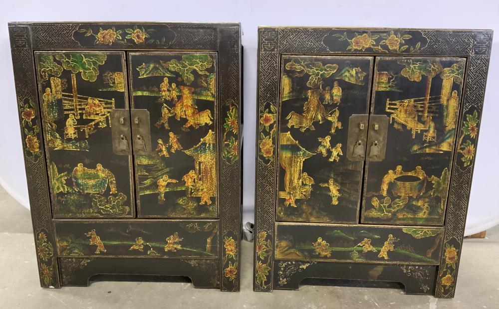 Pair Vintage Lacquered Asian Cabinets