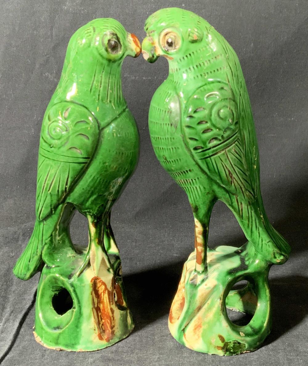 Pair Vintage Handcrafted Ceramic Parakeet Figurals