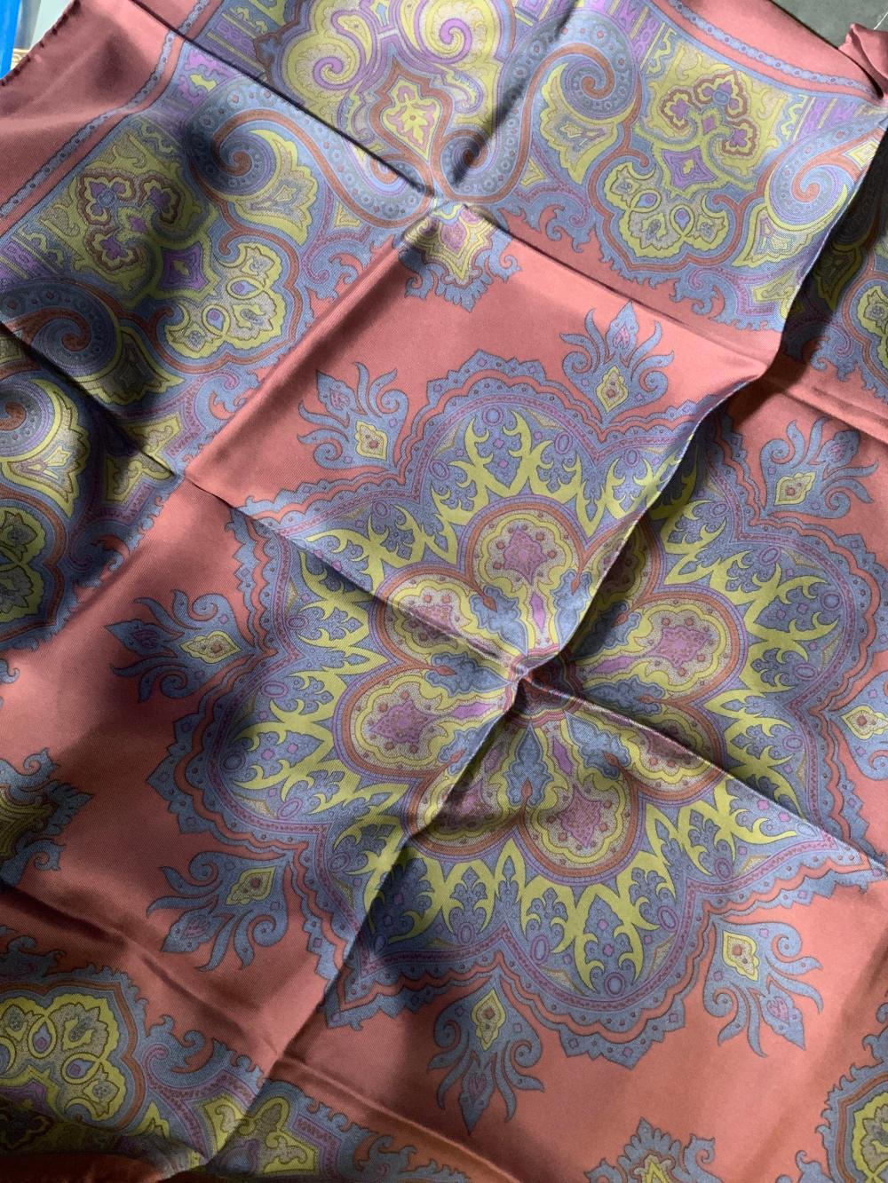 Vintage Italian Silk Head Scarf,