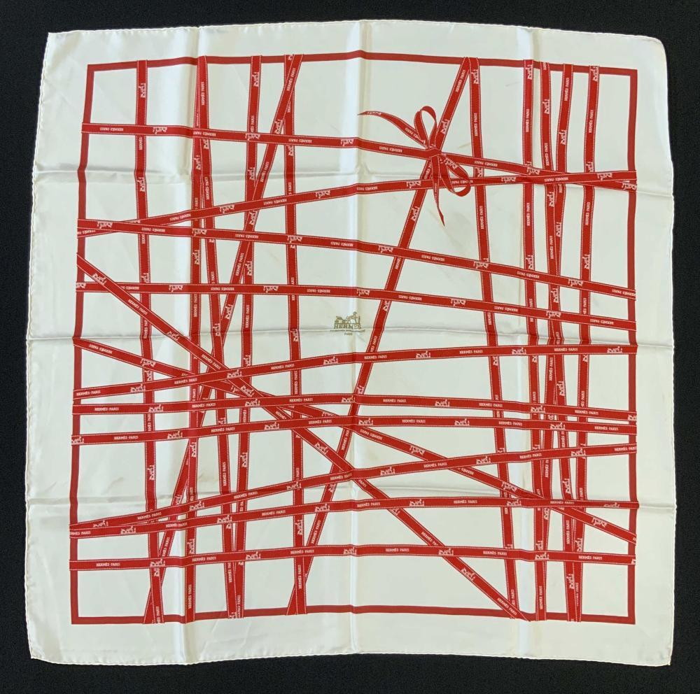 VINTAGE HERMÈS - PARIS Red Ribbons Silk Scarf