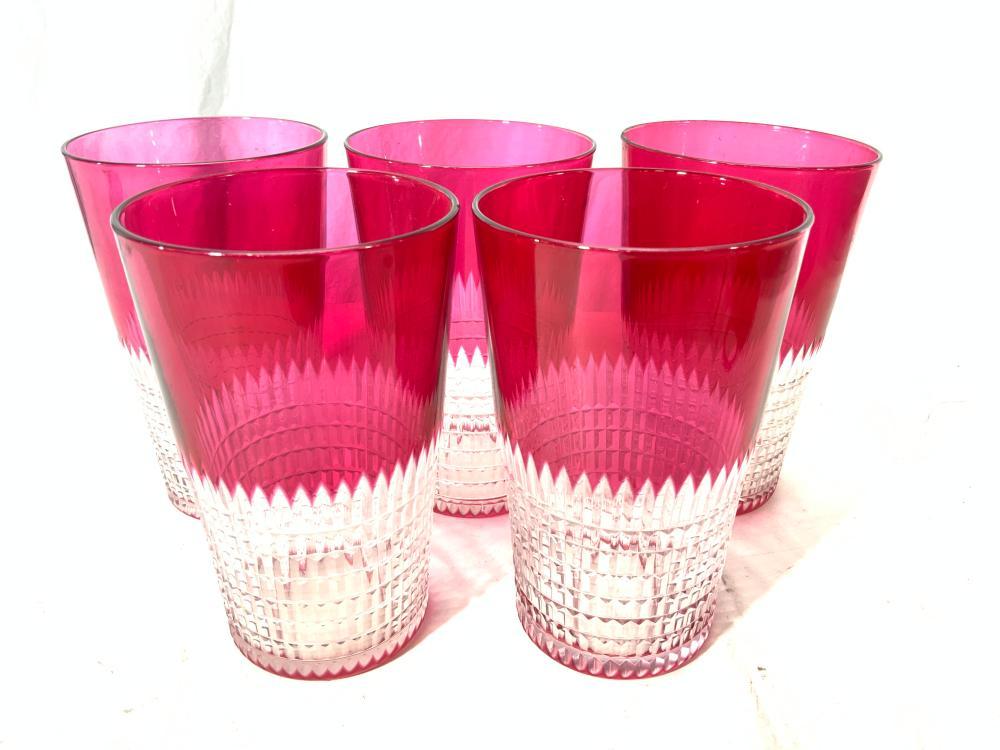 Set 5 Vintage Pink Cut Crystal Glasses, Glassware