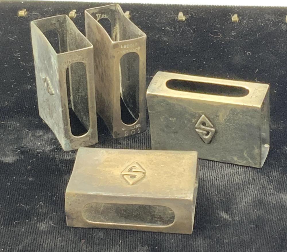 Set of 4 Lebolt Sterling Silver Match Box Holders