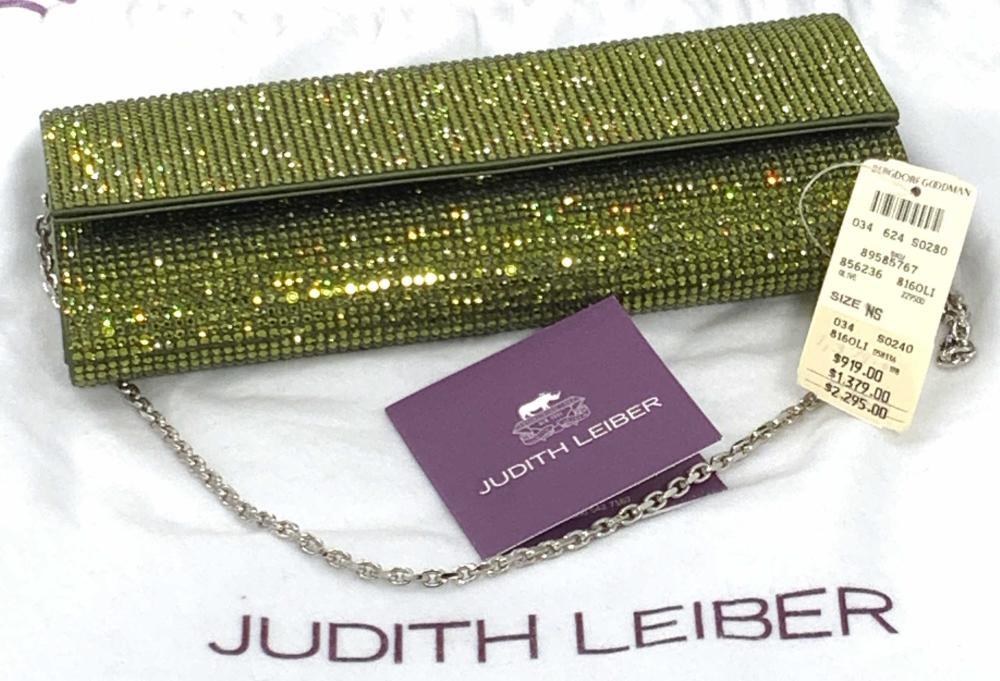 Vntg JUDITH LEIBER Olive Green Crystal Purse, Tags