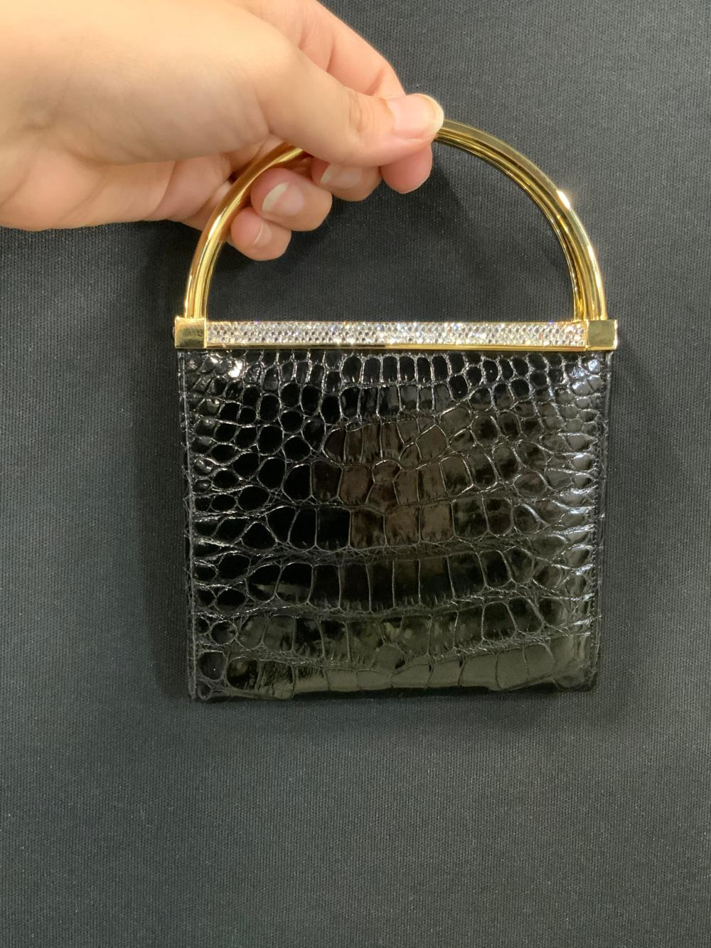 Vntg JUDITH LEIBER Black Croc Mini Purse W/ Tag