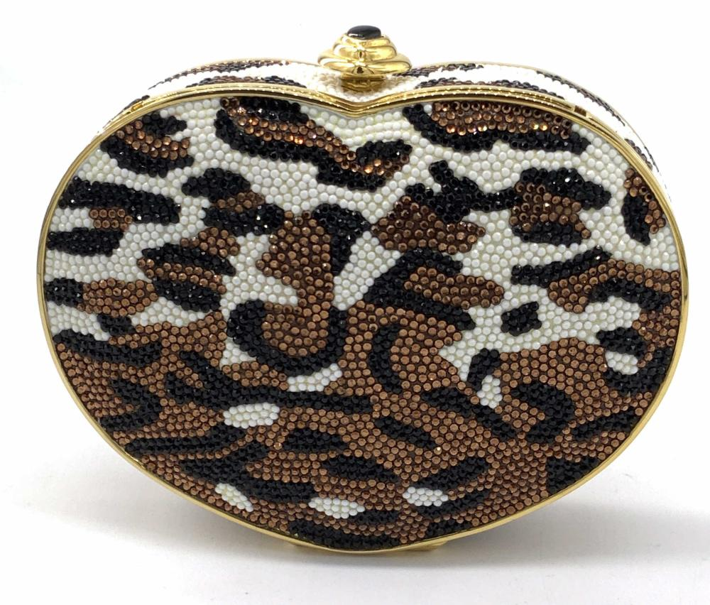 Vnt JUDITH LEIBER Leopard Heart Crystal Minaudiere