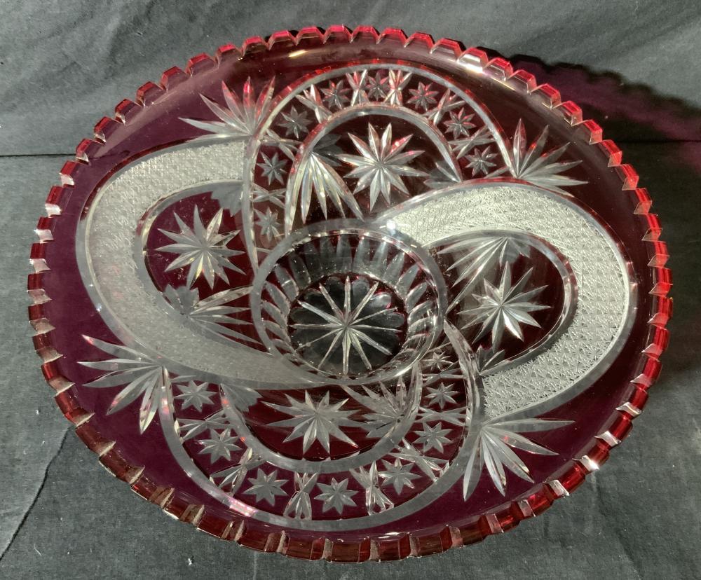 Biedermeier Style Cut Crystal Centerpiece Bowl