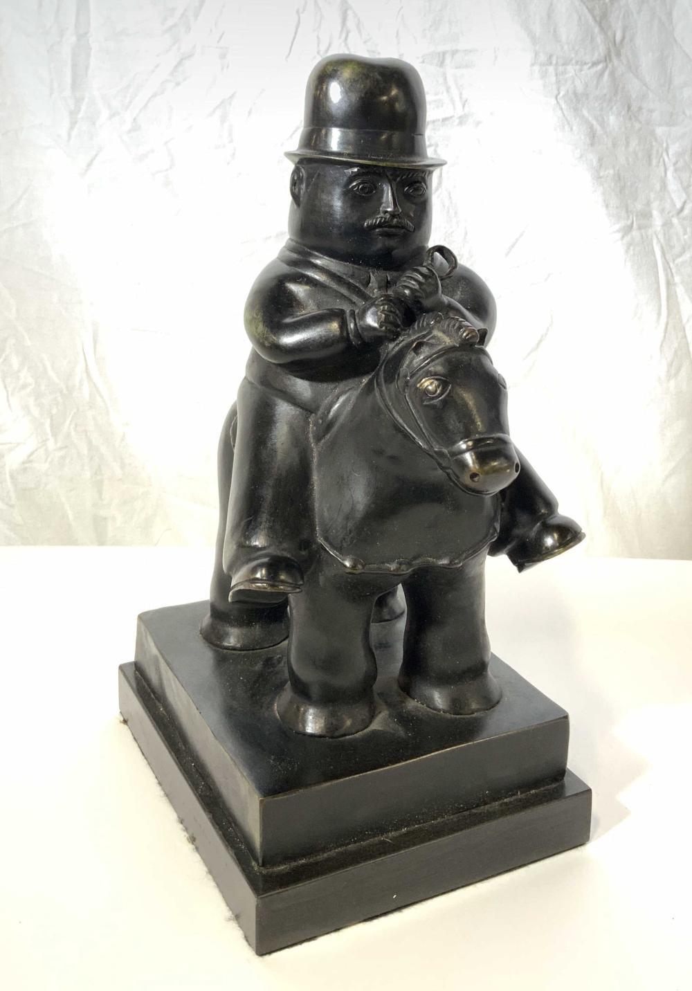 FERNANDO BOTERO Man on Horseback Bronze Sculpture