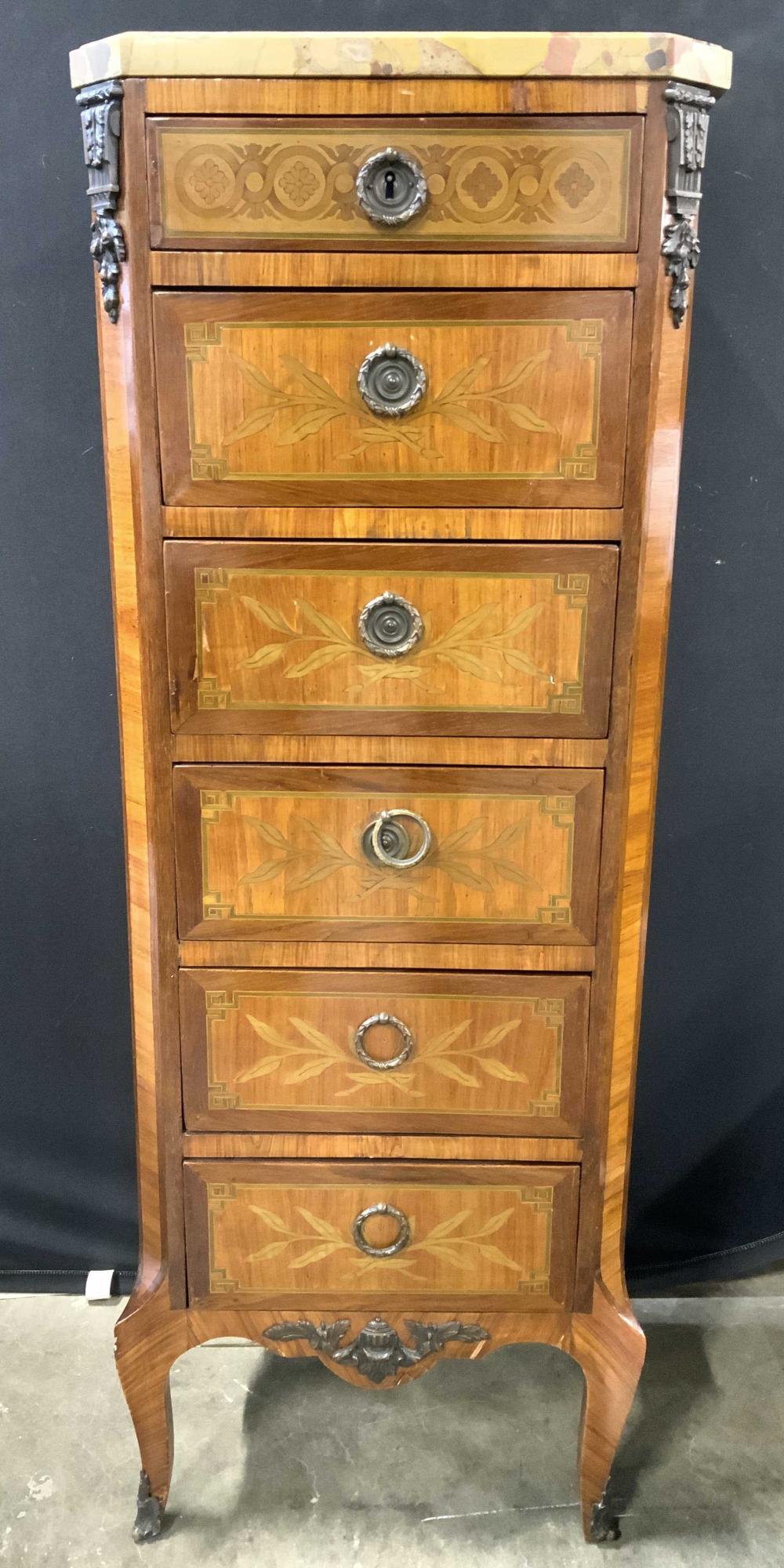 French Louis XV Marble Top Lingerie Chest