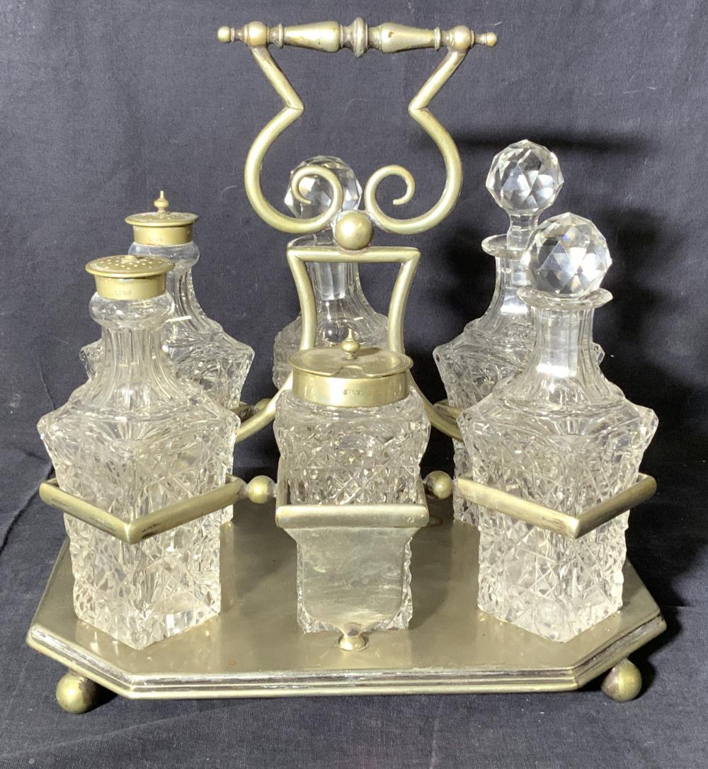 Vintage Cut Crystal & Silver Plate Cruet Set Tray