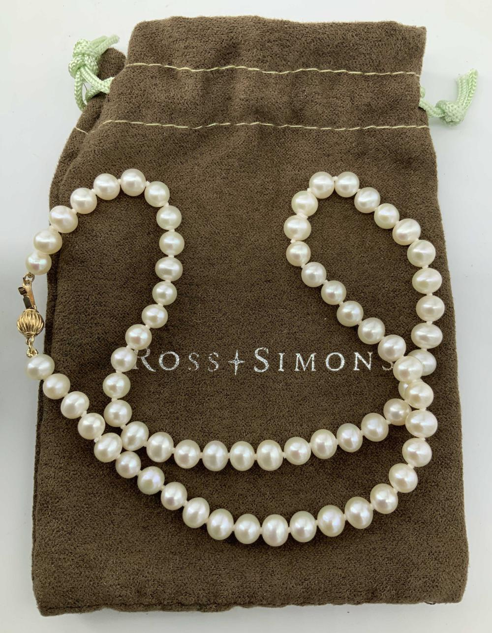 Luxury ROSS SIMONS White Pearl Necklace, Box