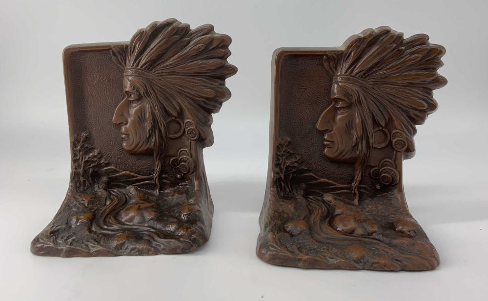 Antique Cast Iron Native American Book Ends