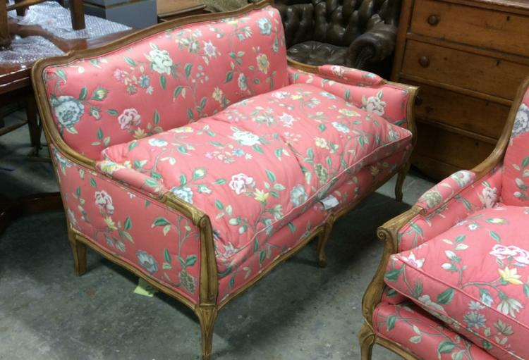 Pair down chintz upholstered setees for Chintz couch
