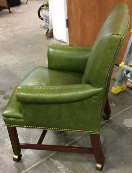 Embossed Lime Green Leather Arm Chair