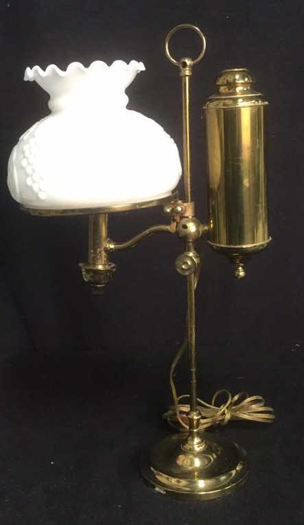 vintage brass student style hurricane table lamp. Black Bedroom Furniture Sets. Home Design Ideas