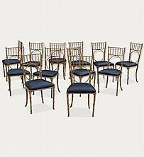 12 faux bamboo dining chairs
