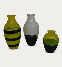 Three glass vases