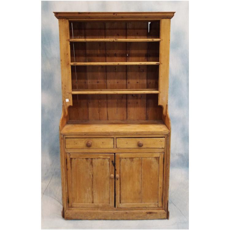 "Pine China Cabinet Hutch: Antique Pine China Hutch 42""x18""x80"""