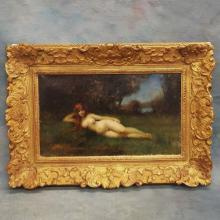 19th C French Oil on Canvas of Nymph in Grassy Field by Jean Jacques Henner