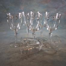 6 Cut Crystal Wine Stems w/Hand Painted Gold Leaves
