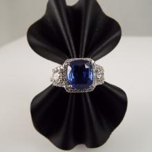 Platinum Ring w/4.78ct Cushion Cut Tanzanite & 0.43ctw Round Brilliant Cut Diamonds - GLA Appr $14,349.00
