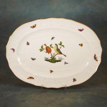 Handpainted Platter w/Gold Trim by Herend - Rothschild Birds Design