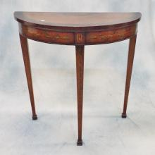 19th C Adams Decorated Satinwood Demilune Console Table